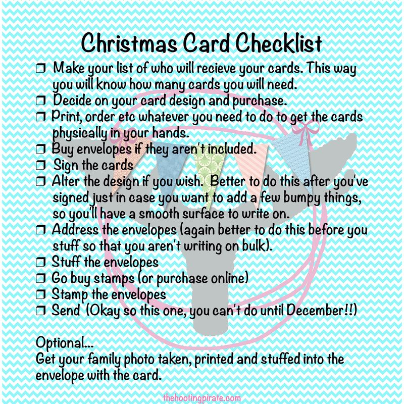 Christmas card checklist